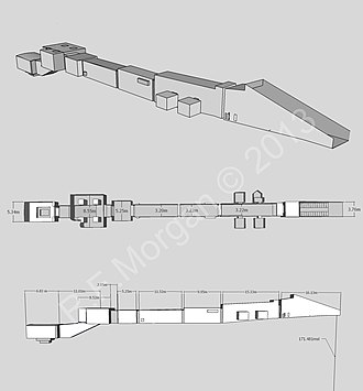 KV6 - Isometric, plan and elevation images of KV6 taken from a 3d model