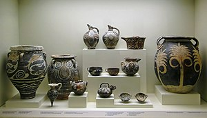 Kamares ware - Kamares vases in Heraklion Archaeological Museum, Crete
