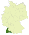 Map of Germany: Position of South Baden highlighted