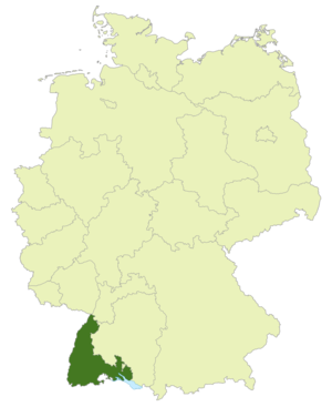 South Baden Cup - Map of Germany: Position of South Baden highlighted