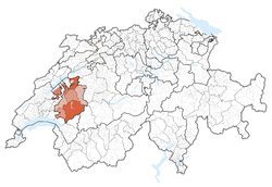 Map of Switzerland, location of ایالت فریبورگ highlighted