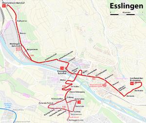 Strecke der Oberleitungsbus Esslingen am Neckar