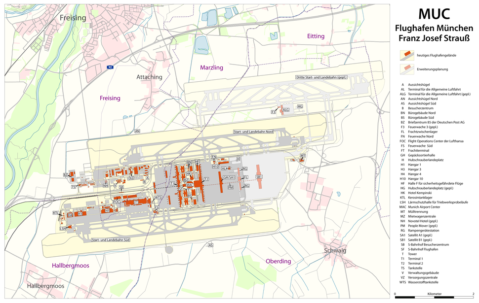 Map of Munich Airport (included planned expansion)
