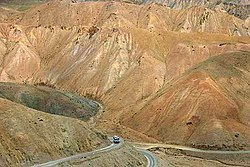 Because of rigid mountainous terrain, Kashmir has poor transportation system making vast regions of Kashmir completely inaccessible. Shown here is the only highway connecting the Kashmir valley and Ladakh.