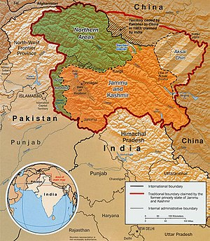 Line of Control - The areas shown in green are the two Pakistani-controlled areas: Gilgit–Baltistan in the north and Azad Kashmir in the south. The area shown in orange is the Indian-controlled state of Jammu and Kashmir and the diagonally-hatched area to the east is the Chinese-controlled area known as Aksai Chin.