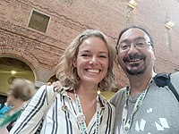 Katherine Maher and Marios Magioladitis in Wikimania 2019.jpg