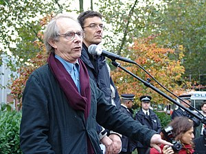Ken Loach speaks at a rally for low-paid clean...
