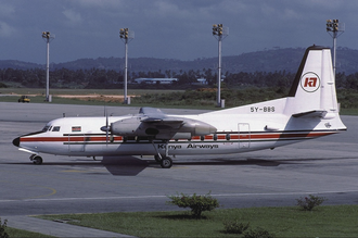 Kenya Airways - A Kenya Airways Fokker F27-200 at Moi International Airport in 1982.