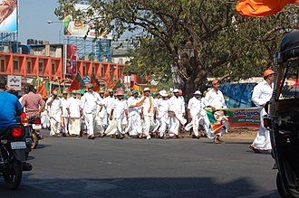Colonial mentality - BJP supporters march in Kerala.