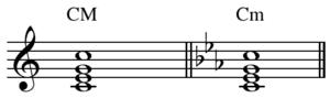Modulation (music) - Key signature change example: C major to C minor.
