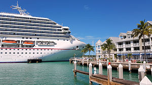 Key West - A cruise ship docked at the Navy Mole pier in Key West