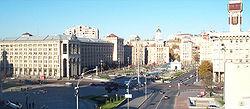Kijev központja, a Majdan Nezalezsnosztyi (Függetlenség tere)