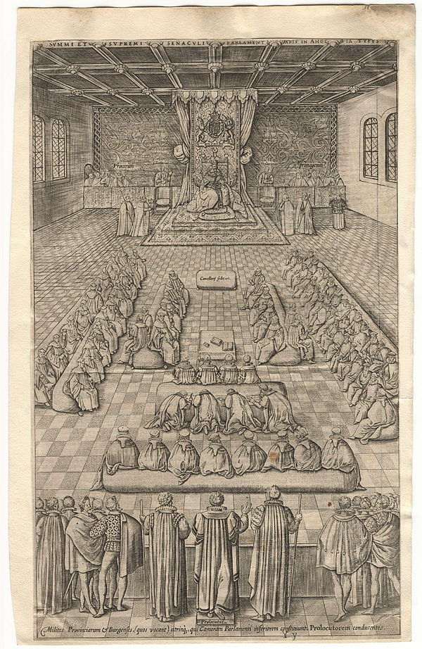 Engraving of James I at Parliament on 5 November 1605, by Renold Elstracke. King James I of England and VI of Scotland in Parliament by Renold or Reginold Elstrack (Elstracke).jpg