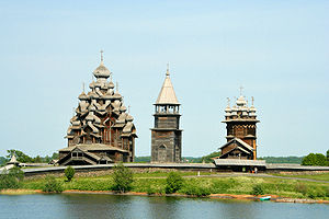 Timeline of Russian innovation - The wooden churches of Kizhi, built completely without nails and featuring such traditional elements of Russian architecture as the tented roof, multiple onion domes and bochka roofs.
