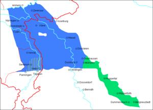 South Guelderish - Nijmeegs/Liemers, North Limburgish, Kleverlander (all 3 in blue), and East Bergish (green) crossing the Dutch-German border (red)