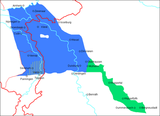 South Guelderish - Nijmeegs/Liemers, North Limburgish, Kleverlander (all 3 in blue), and East Bergish (green) crossing the Dutch-German border (red)