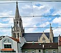 Kościół mariacki w katowicach - widok z torów.JPG