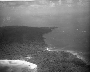Mayaguez incident - USAF reconnaissance photo of Koh Tang, showing East Beach (left) and West Beach (right)
