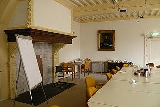 Stadsbibliotheek Haarlem - Krijgsraadkamer with fireplace and picture of Abraham de Vries.