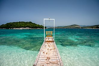 Albanian Ionian Sea Coast - The crystal clear waters of Ksamil in the south of the coastline.