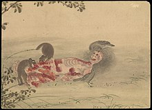 Kusozu; the death of a noble lady and the decay of her body. Wellcome L0070293.jpg