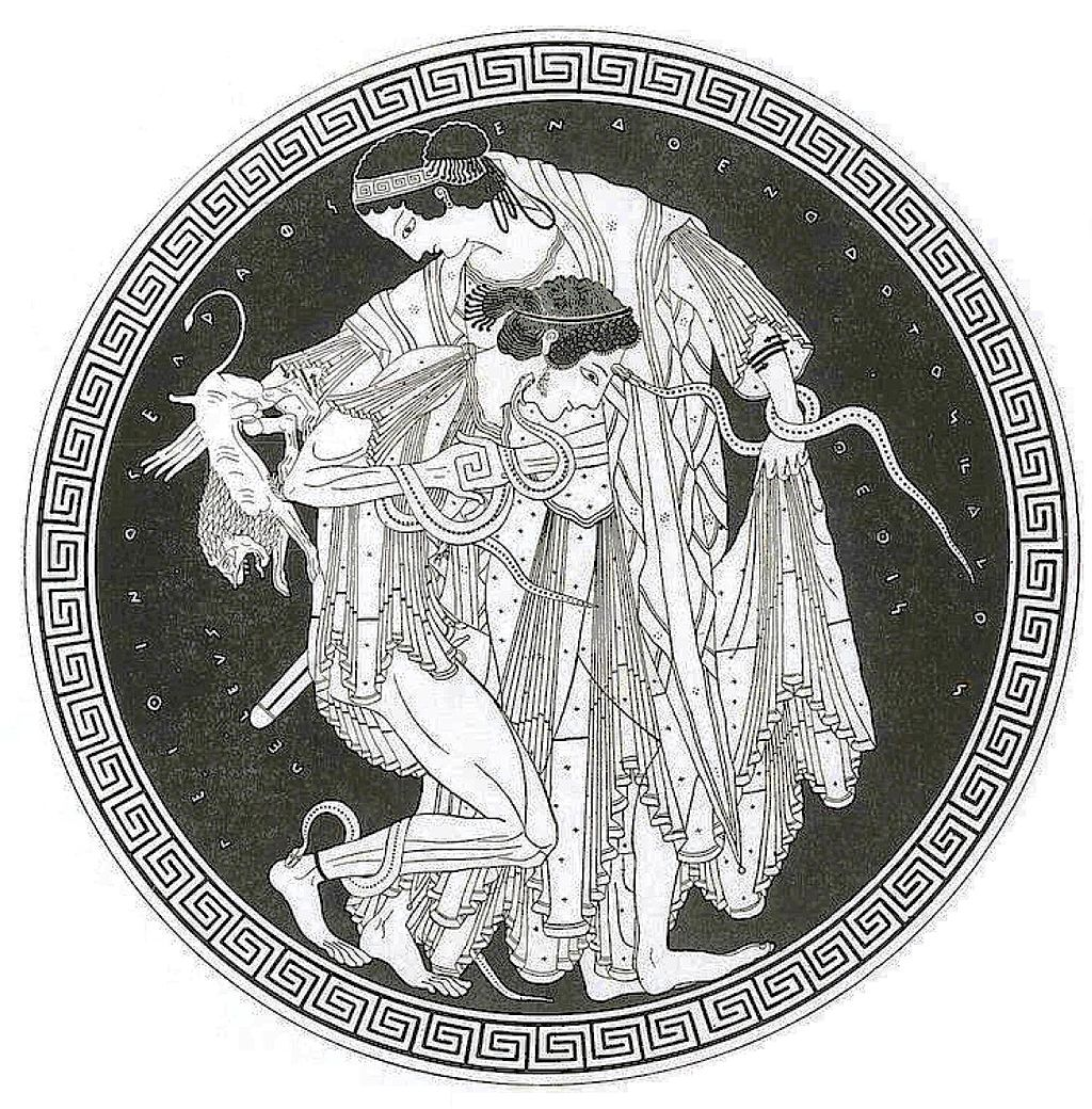 Η πάλη του Πηλέα με την Θέτιδα: Ο Πηλέας σφίγγει την Θέτιδα,ενώ εκείνη μεταμορφώνεται σε φίδια και ένα λιοντάρι.