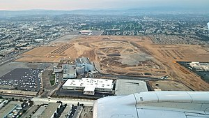 2028 Summer Olympics - Aerial view of the site of Los Angeles Stadium at Hollywood Park