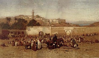 Louis Comfort Tiffany - Tiffany's 1873 painting Market Day Outside the Walls of Tangiers, Morocco