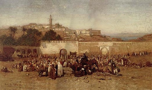 Tiffany's 1873 painting Market Day Outside the Walls of Tangiers, Morocco L C Tiffany Market Day.jpg