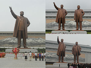 Mansu Hill Grand Monument - Changes made to the original statue of Kim Il-sung (left) and the initial statue of Kim Jong-il (top right) can be seen (bottom right).