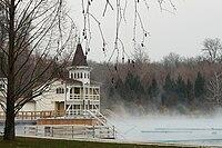 Lake Hévíz, Thermal bath in winter.jpg
