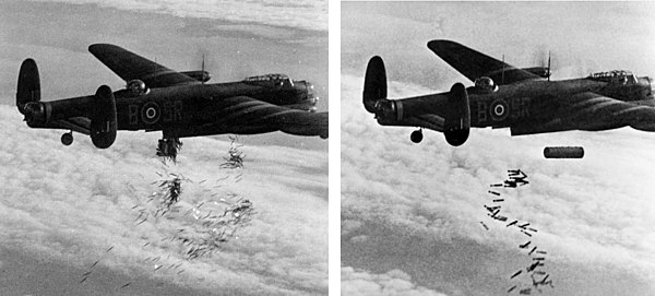 "A Lancaster drops first ""window"" to disrupt enemy radar then a 4,000 blockbuster bomb and incendiary bombs during Operation Hurricane against Duisburg on 14/15 October 1944"