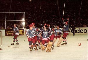 Eishockey-Bundesliga - EV Landshut celebrating the 1982–83 championship