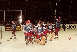 Eishockey-Bundesliga - EV Landshut celebrating the 1982–83 championship