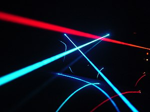 Laser - Laser beams in fog, reflected on a car windshield