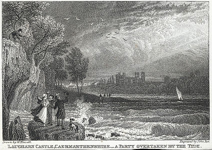 Laugharn Castle, Caermarthenshire.. A Party Overtaken By The Tide.jpeg