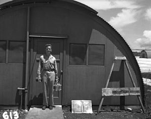 Lawrence H. Johnston - Johnston with the Fat Man plutonium core on Tinian in 1945