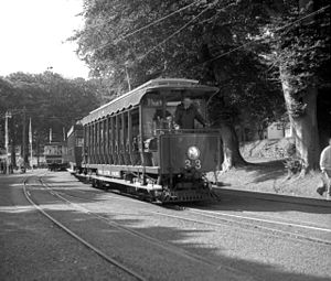 Year of Railways - Trams at Laxey station during the celebration on 27 August 1993