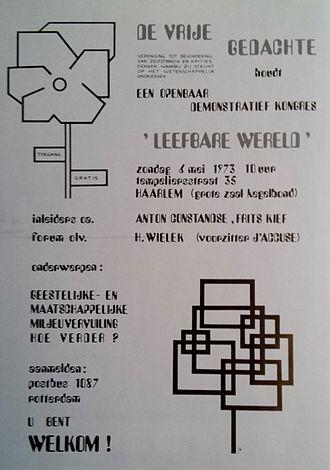 De Vrije Gedachte - Placard for a public DVG congress on a 'livable world' in 1973.