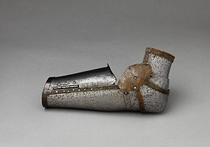 Vambrace - A left-arm vambrace; the bend would be placed at the knight's elbow