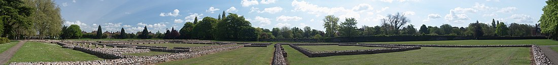 a contemporary panoramic photograph of the abbey's ruins