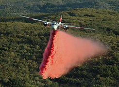 Leona Valley Crown Fire CDF aircraft Phos-Chek drop.jpg