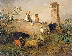 Knabe und Mädchen mit Schafen und Ziegen