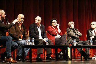 Académie Goncourt - Members of the Académie Goncourt in 2013. From left to right: Philippe Claudel, Tahar Ben Jelloun, Didier Decoin, Paule Constant, Patrick Rambaud, Bernard Pivot.