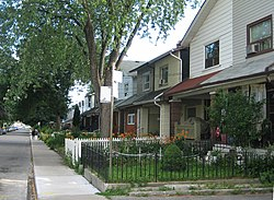 A group of typical Leslieville homes