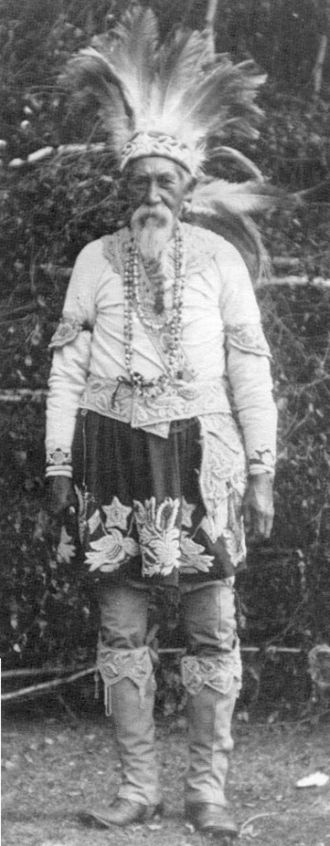 Mohegan - Lester Skeesuk, a Narraganset-Mohegan, in traditional dress
