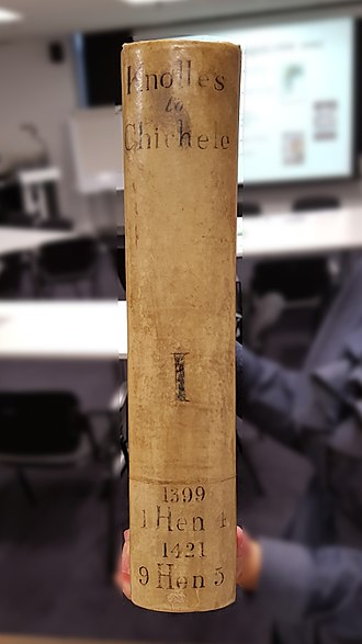 Letter-Books of the City of London - The spine of Book I.
