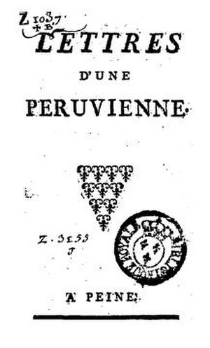 Letters from a Peruvian Woman - Title page from first edition of Lettres d'une Péruvienne