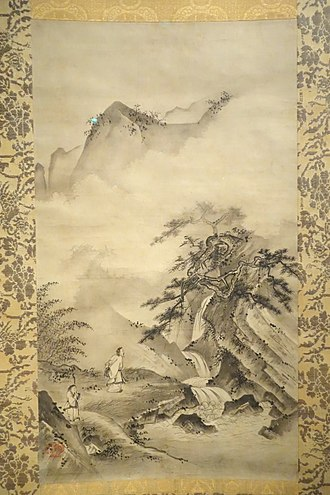 Sōami - Li Bai viewing the waterfall at Mt. Lu, by Soami (d. 1525), Japan, Muromachi period, approx. 1500-1525, hanging scroll, ink on paper - Asian Art Museum of San Francisco