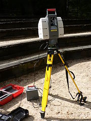 This lidar (laser range finder) may be used to scan buildings, rock formations, etc., to produce a 3D model. The lidar can aim its laser beam in a wide range: its head rotates horizontally, a mirror flips vertically. The laser beam is used to measure the distance to the first object on its path.